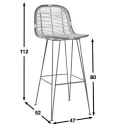 Horizon rattan collection bar chair dimensions