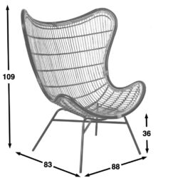 Horizon rattan collection butterfly chair dimensions